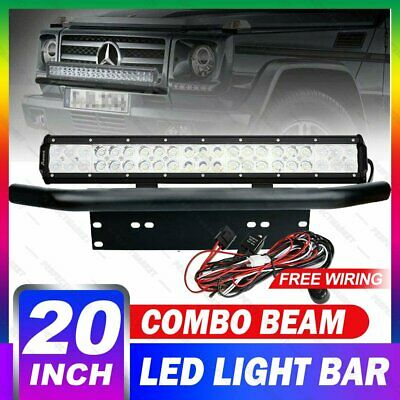 20inch 294W CREE LED Light Bar SPOT FLOOD Driving Work Number Plate Frame Silver