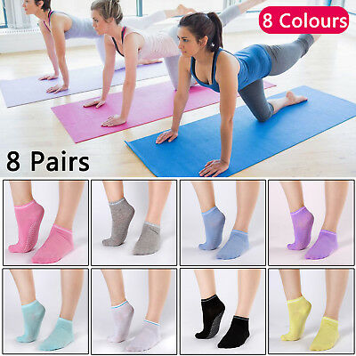 8 Pairs Yoga Fitness Socks Non Slip Pilates Massage Ballet Socks Exercise Gym