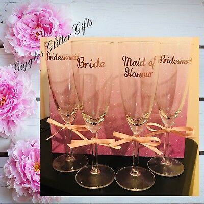 Rose Gold Bridesmaid Glass Champagne Flute Glasses, Wedding, Bride Hen Party