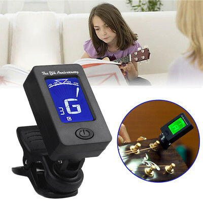 Digital Chromatic LCD Clip-On Electric Tuner For Bass Guitar Ukulele Violin HE7