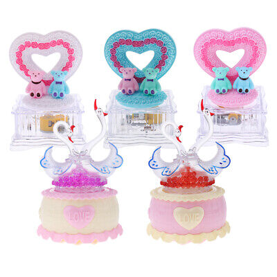 Rotating Heart/Swan Music Box Singing To Alice Collectible Home Office Decor