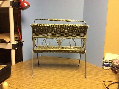 Vintage  Wrought Iron And Wicker Magazine Rack - Green