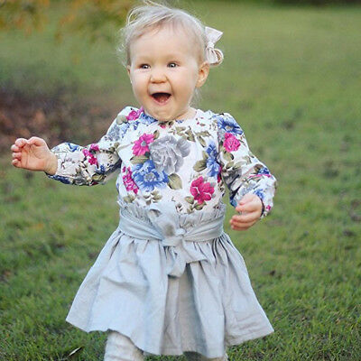 Lovely Toddler Kids Baby Girls Floral Romper Tops+Bowknot Skirt 2Pcs Outfits Set