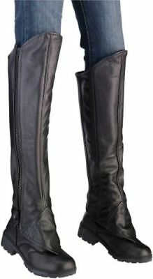 Z1R Womens Motorcycle Leather Expandable Half Chaps Black - Pick Size