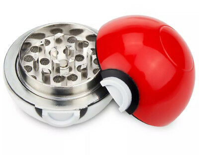 """Pokemon Pokeball Herb Spice Grinder Mill Tobacco Aluminum 3 pc 40mm 1.5"""" Cosplay"""