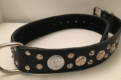 Real Leather American Bulldog Dog Collar In Black /tan Brown - Silver Fittings