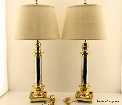 Pair of Vintage Frederick Cooper Chicago Brass and Chrome Table Lamps