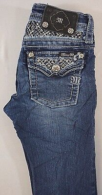 Miss Me Kids Girls Boot Cut Denim Jean w Gem Lace Flap Pkts 10 x 28 [DE15759]