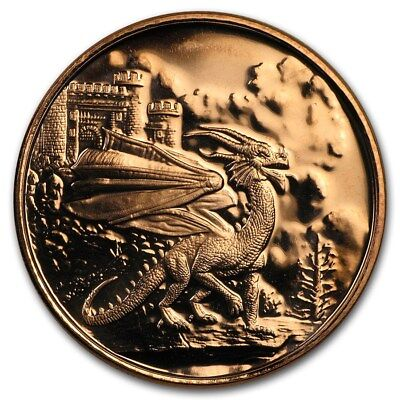 Celtic Lore Series - Welsh Red Dragon 1 oz .999 Copper BU Round USA Made Coin