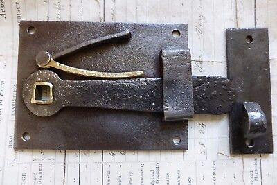 Antique Style Cast Iron & Brass Cottage Rim Lock Latch - door rim lock