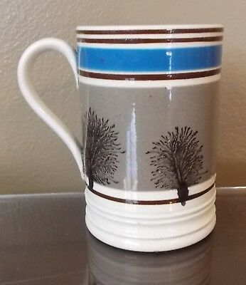 Clean Mochaware Pint Mug With Seaweed Decoration And Applied Handle
