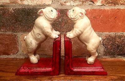 Cast Iron Pair of White Bulldog Pugs Vintage Bookends