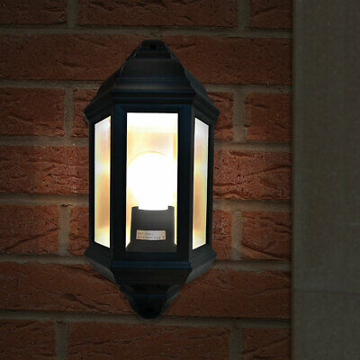 Eterna Traditional 60W Half Lantern Black Porch Light with Frosted Panels HL60B