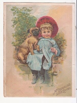 MCLaughlin's XXXX Coffee Chicago Little Girl Dog Stone Wall Vict Card c1880s