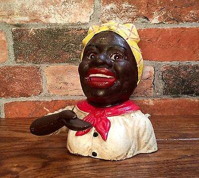 Cast Iron Black Americana John Harper & Co. Aunt Jemima Mechanical Coin Bank