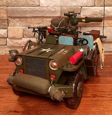 Tin Metal 1980's M151 U.S. Army Vintage Military Model Jeep with TOW Launcher