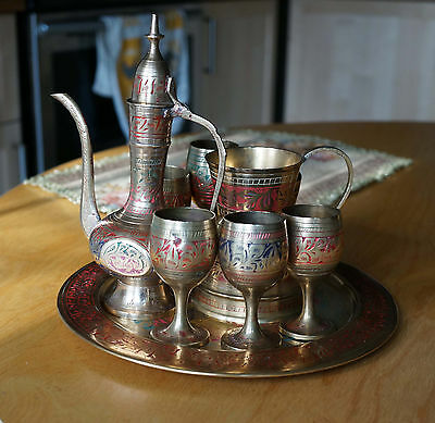 VTG Handmade Etched Multicolored Brass Turkish Coffee Set Israel Middle Eastern