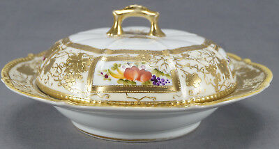 Hand Painted Nippon Flowers & Gold Moriage Covered Pan Cake Dish C 1891 - 1911