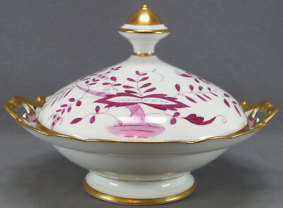 Heinrich Hand Painted Festoon Pink Onion Gilt Large Covered Vegetable Dish 1930s