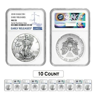 Lot of 10 - 2018 1 oz Silver American Eagle $1 Coin NGC MS 70 Early Releases