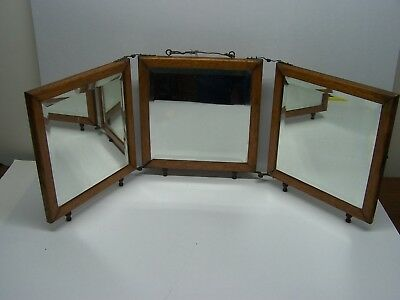 Antique Shaving Mirror Oak Tri-Fold Beveled Glass Vanity Stand Or Hang