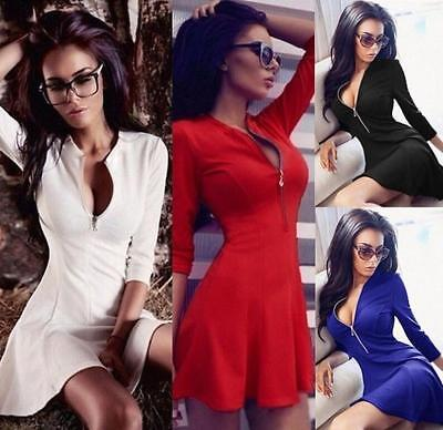 Sexy Women's Deep V Zipper Long Sleeve Party Dress Evening Cocktail Mini Dress