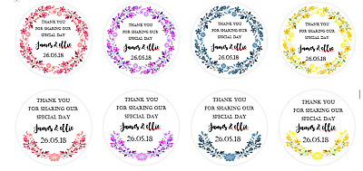 Wedding Floral Wreath personalised 24  x 40mm round stickers favour box/bags