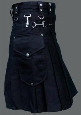 Scottish-Men-Utility-Kilt-Black-100-Cotton-Custom-Handmade-Adult-Free-Shipping