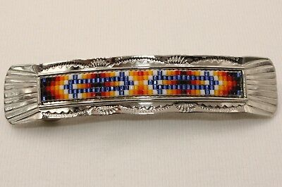 Signed Navajo Native American Indian Made Silver Beaded Hair Barrette