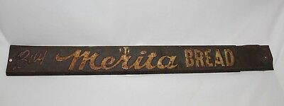 Vintage Reach for Merita Bread Door Push Sign - Embossed Advertising