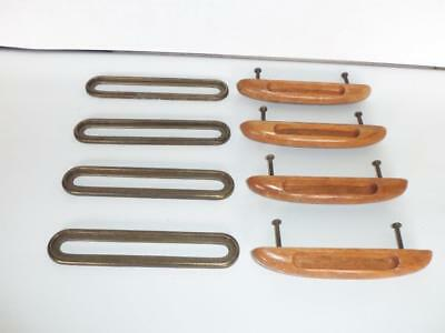 4 Vintage Wood Knobs Drawer Pulls Handles With Brass Backplates