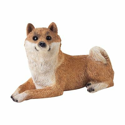 Sandicast Small Size Red Shiba Inu Sculpture Lying