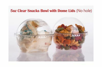 GOLDEN APPLE 5 oz Clear Plastic Cups for Ice Cream Snack bowl with Dome lids ...