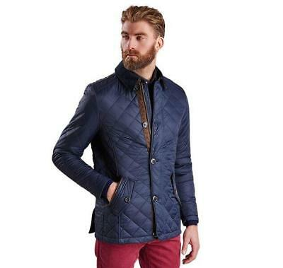NEW mens L barbour fortnum quilted Jacket navy blue MQU0692