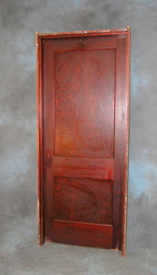"Original Antique 2 Panel Pine Door w/ Jamb & Beveled Mirror, Vintage 32"" x 80"""