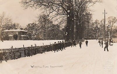 London Real Photo Postcard. Windmill Rd. Brentford. Hounslow. Winter. Rare! 1907