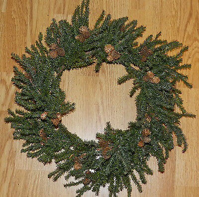 """Nice 18"""" Primitive Artificial Pine Wreath! Ready To Decorate!! Christmas!!"""