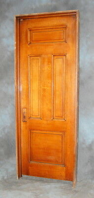 "Original Antique Quarter Sawn Oak 4 Panel Door in Jamb, Painted Pine 30"" x 82"""