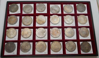 Lot of 24 Silver Mexican Coins - 8 Reales 1 Peso - Original Toning - AU-UNC
