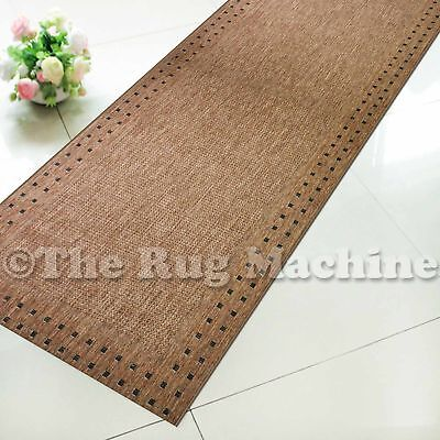 SUMMER INDOOR/OUTDOOR BORDER DARK BROWN MODERN FLOOR RUG RUNNER 60x230cm **NEW**