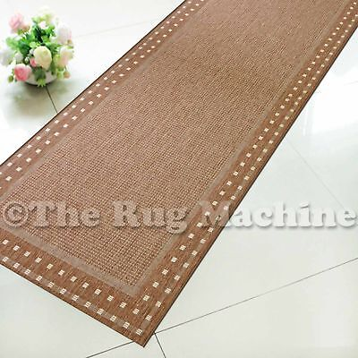 SUMMER INDOOR/OUTDOOR BORDER BROWN MODERN RUG RUNNER 67cm WIDE **ANY LENGTH**