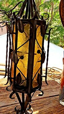 """1970s 24"""" VINTAGE GOTHIC MEDIEVAL SPANISH HANGING LAMP SWAG Amber Lucite Panels"""