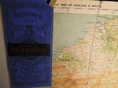 Pembroke:antique Cycle Map Bartholomew/ctc:c1912 Topographical Colour,dissected