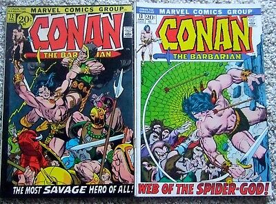 Conan the Barbarian #12 & 13  Roy Thomas/Barry Smith Marvel Comics 1972