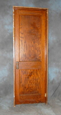 "Original Antique 2 Panel Oak Door in Jamb 30"" x 90"" Vintage Architectual Salvage"