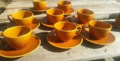 Lot of 8 Franciscan Harvest Wheat Cups and Saucers