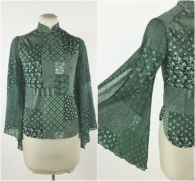 Vintage 1970s Green Floral Blouse Bell Sleeve Mixed Pattern Patchwork Hippy Boho