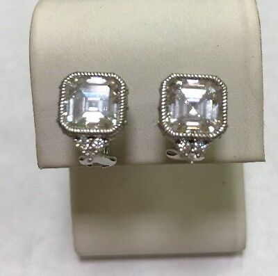 Judith Ripka Sterling Silver 925 Princess Solitaire Cz Statement Earrings