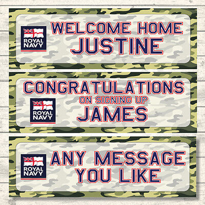 2 PERSONALISED 800 x 297mm ROYAL NAVY WELCOME HOME - CONGRATULATIONS - BANNERS