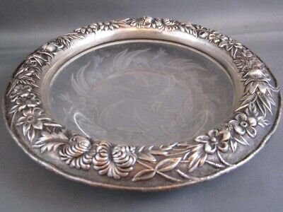 RARE 1800's S KIRK & SON Sterling Silver REPOUSSE & etched Crystal Bowl #226